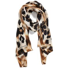 Collection XIIX 'Blur Cheetah' Silk Scarf featuring polyvore, fashion, accessories, scarves, oak, pure silk scarves, cheetah print scarves, cheetah scarves, polka dot scarves and collection xiix scarves