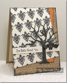 Batty About You, Damask Designs, Spooky Sentiments, Timeless, Typewriter Text Background, Spooky Scene Die-namics - Barbara Anders #mftstamps