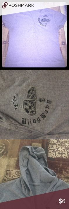 BLING BLING BABY HOODIE SHIRT Size XL Bust measurement 19 see picture. In good condition . unknown Tops Tees - Short Sleeve