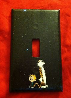 Calvin and Hobbes starry nights light switch cover