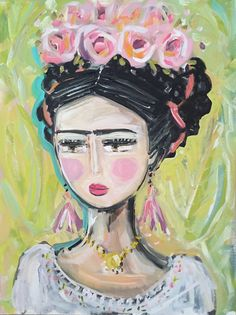 Frida Kahlo Painting roses pretty portrait by DevinePaintings