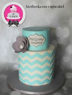 Chevron Baby Shower Cake Chevron Baby Shower Cake I learned two things this weekend; 1. How easy and beautiful wafer paper flowers are to make2. Wafer paper refuses...