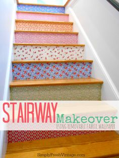 Stairway Makeover | 8 Steps to a colorful stairway from SimplyFreshVintage.com