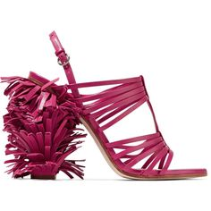Moschino - Fringed Leather Sandals (100 KWD) ❤ liked on Polyvore featuring shoes, sandals, magenta, moschino shoes, leather slingback sandals, slingback shoes, sling back shoes and high heel sandals