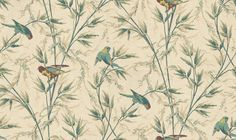 Great Ormond St (277GTPARCH) - Little Greene Wallpapers - A late 19th century design with colourful parrots in swaying branches. Available in 3 colourways – shown with the birds on parchment and green. Please ask for sample for true colour match. Complimentary paints also available.