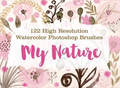 122 Watercolor Photoshop Brushes - M by Lizamperini on Creative Market