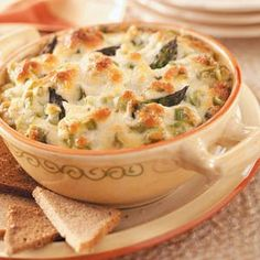 Baked Asparagus Dip. This is delicious, I cut the mayo to 1/2 C and use a 1/2 C of plain Greek yogurt or Sour Cream.