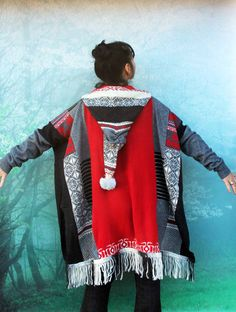 Winter colors sweater poncho with hood. Made from recycled norwegian sweaters clothing. Soft in touch. Very comfortable. Ethno tribal hippie boho