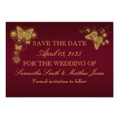 Butterfly burgundy gold wedding response personalized invites