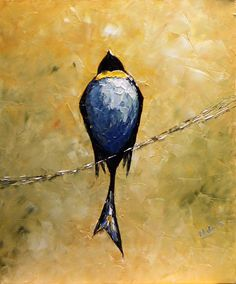 Original Bird Oil Painting Modern Abstract Oil by NataSgallery