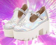 34-39 sliver hologram holographic shiny Galaxy platform shoes underground unif