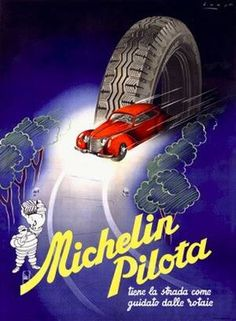 VintageArte♥ - 1930s Bibendum Michelin Pilot Tire Poster : Posters and Framed Art Prints Available