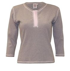 Baby'O Women's Cotton Jersey Knit 3/4 Sleeve Striped Zip-Up Henley -- Read more reviews of the item by visiting the link on the image.