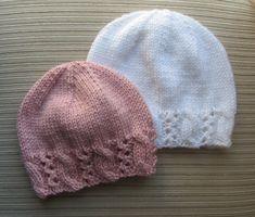 Knitting Pattern Hat with a Fancy Border 127 image 0 Beau Crochet, Knit Or Crochet, Crochet Hats, Baby Hat Patterns, Baby Knitting Patterns, Crochet Patterns, Baby Hats Knitting, Knitted Hats, Crochet Simple