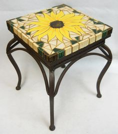 SUNFLOWER Mosaic  Art Accent Table by HouseofWhisperingFir on Etsy