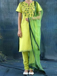 Lime Green Chanderi Embroided Kurta With Green Net Dupatta #Dupatta #ethnicstyle #elegant #dress #suit #indiandesigner #ethnic #accessories #partywear #celebration #festive #dress #couture #beautiful #embroidered #fashion #clothing #silk #ethnic #indiandesigner #stylist #fashionblogger #trendy #follow #stepintostyle  Shop Now: http://bit.ly/1XkLZcx