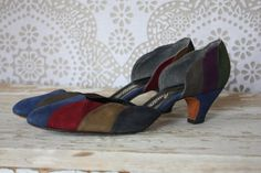 Vintage 1980's Amano Multicolored Suede Leather Pumps 8.5N by pursuingandie, $33.00