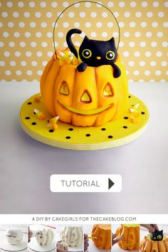 Kitty Cat in a Pumpkin Cake |  a cake tutorial for Halloween by Cakegirls for TheCakeBlog.com
