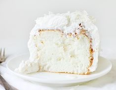 Coconut Angel Food Cake ~ http://iambaker.net
