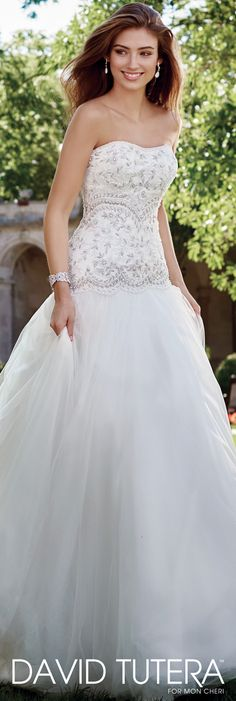 David Tutera for Mon Cheri Spring 2017 Collection - Style No. 117287 Nudara - tulle wedding dress with hand-beaded bodice and dropped waist and gathered full skirt