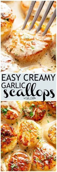 Creamy Garlic Scallops are just as good as restaurant scallops with minimal ingredients and maximum flavour! A silky creamy garlic sauce with a hint of lemon coats crispy buttery scallops! With only a handful of ingredients you're minutes away from hav Fish Recipes, Seafood Recipes, New Recipes, Cooking Recipes, Favorite Recipes, Healthy Recipes, Dinner Recipes, Garlic Scallops Recipe, Salads
