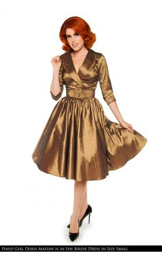 Pinup Girl Clothing- Birdie Dress in Gold Sharkskin Taffeta with Three-Quarter Sleeves | Pinup Girl Clothing