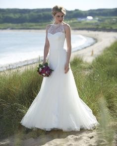 illusion halter neck low back destination wedding dress 2015