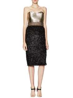Badgley Mischka Couture Metallic Strapless Lame Textured Dress at Gilt saved by #ShoppingIS