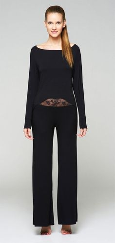 8a73168ac128 Fleur t Black High-Low Sweater   Palazzo Pants www.labellaintimates.com