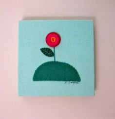 Wallflower Wrapped Canvas Applique Art by crewelwhorled on Etsy, $30.00