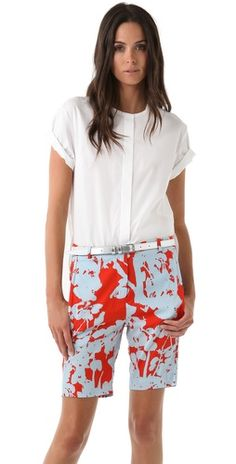 3.1 Phillip Lim Shirt with Chiffon Back 3.1 Phillip Lim Bermuda Shorts with Skirt Overlay Panel,  #SaksLLTrip