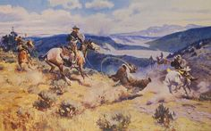 Loops And Swift Horses Are Surer Then Lead - Charles Marion Russell (b. 1864, Oak Hill, Missouri - d. 1926, Great Falls, Montana), also known as C.M. Russell, was one of the great artists of the American West. Russell created more than 2,000 paintings of cowboys, Indians, and landscapes set in the Western United States, in addition to bronze sculptures. His mural entitled Lewis and Clark Meeting the Flathead Indians hangs in the state capitol building in Helena, Montana.