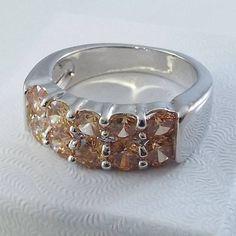 Ladies Champagne CZ 18K White Gold Overlay Ring~Size 8 -Free Gift Box