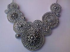 Silver Soutache Necklace/ Soutache Collar by JewelleryByKassandra