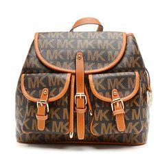 Michael Kors Jet Set Signature PVC Large Brown Backpacks | See more about black backpack, michael kors and michael kors jet.