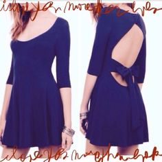 "⭐️HP 5/13/16⭐️ Navy Bow Dress Super Charming Bow Dress with Cut Out. Lovely 3/4 sleeves. It has a Rounded Neckline for your Statement Jewelry. NWOT. Shoulder 14.2"" Bust 30.7"" Length 31.5"" Sleeve 15.9"" Janet's Closet Dresses"