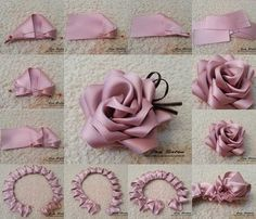 Best 8 How to make simple Fabric Roses DIY tutorial instructions, How to, how to do, di… – SkillOfKing. Fabric Roses Diy, Satin Ribbon Flowers, Cloth Flowers, Dried Flowers, Grosgrain Ribbon, Fabric Flower Headbands, How To Make Ribbon, Ribbon Work, Ribbon Crafts