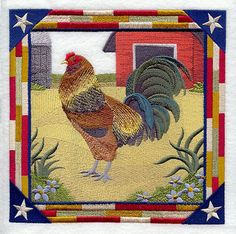AMERAUCANA ROOSTER SQUARE  Machine Embroidery by AzEmbroideryBarn, $63.95