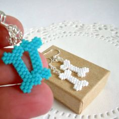 Seed Bead Bones Earrings with Sterling Silver Earwires - Peyote Stitch