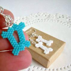 Seed Bead Bones Earrings with Sterling Silver by BeadCrumbs, $5.00