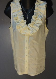 NEW J.Crew 100% SILK BEAUTIFUL Cream Ruffled Button Down Shirt / Top Sz 4 NWOT #JCrew #ButtonDownShirt #Career