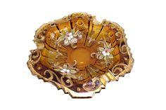 vide-poches cendrier vintage en verre ambré émaillé vintage idée cadeau