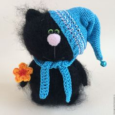 Купить Котёнок - гномик. - чёрный, кот, коты, коты и кошки, вязаная игрушка, вязаный кот