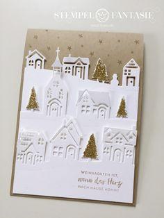 Karte mit Winterstädtchen – Weihnachten ist, wenn das Herz nach Hause kommt! – Stempelfantasie • Brigitte Keiling • Stampin' Up! • Landsberg am Lech • Stempeln