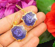 20 Carat Gold Plated Blue Solar Druzy Agte Women's Earrings Jewelry NJ556 #Handmade