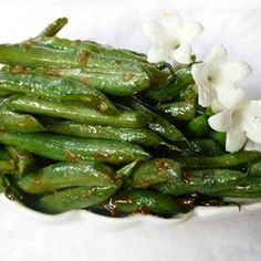 """Oriental Green Bean Salad""  http://allrecipes.com/recipe/14460/oriental-green-bean-salad/"