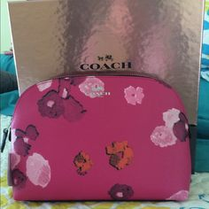 """HP x 2 Coach Floral multi pink cosmetic bag HOST PICK x 2 Style Obsession-NWT COACH FLORAL PRINT COSMETIC CASE PINK/ MULTICOLOR SILVERTONE HARDWARE  With a beauty of a gift box...Floral print canvas Inside open multifunction pocket Zip-top closure, fabric lining 8 3/4"""" (L) x 6"""" (H) x 2 1/4"""" (W) Coach Accessories"""