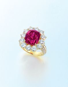 A 9.50 carat Burma ruby and diamond ring, by Gimel.