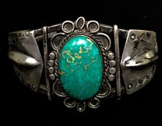 Old Navajo Silver Bracelet With Gorgeous Old Turquoise Stone Signed (?) in Jewelry & Watches, Ethnic, Regional & Tribal, Native American | eBay