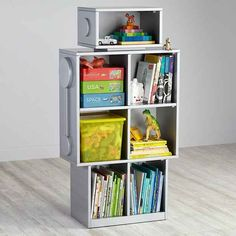 A robot-shaped shelf. Adorable shelf for a kids room! Definitely could be made instead of purchased.